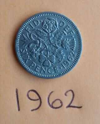 1962  Queen Elizabeth, Sixpence Piece X 2. • 1.30£
