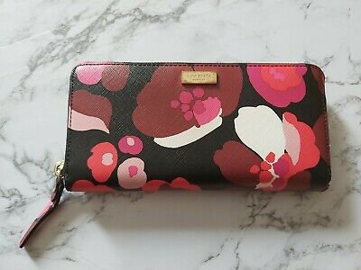$ CDN39 • Buy Kate Spade Zip Around Black Floral Wallet