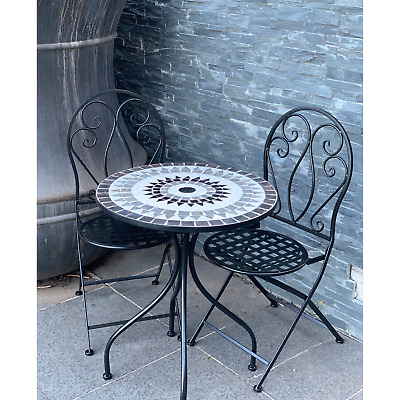 AU399 • Buy Patio Setting Romina Mosaic Steel 3 Piece Bistro Balcony Garden Outdoor