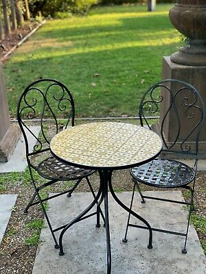 AU399 • Buy Patio Setting Tuscan Mosaic Steel 3 Piece Bistro Balcony Garden Furnitur Outdoor