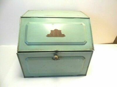 $139.99 • Buy Bread Box - 1930's Green Tin Box W Space For Rolls & Bottom For Bread -- Neat!
