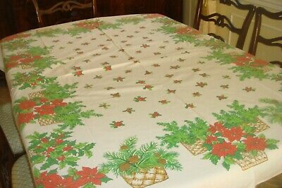 $ CDN25 • Buy Vintage Christmas Tablecloth White With Red Poinsettia Baskets- 66  X 52