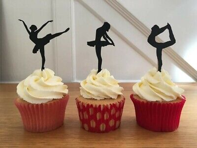 12 Cupcake Silhouette BALLET DANCING Toppers. Three Ballerina Poses Provided.  • 4.95£
