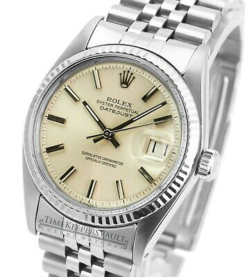 $ CDN5427.61 • Buy Rolex Datejust Mens SS Stainless Steel & 18K White Gold Jubilee Silver Dial 1601