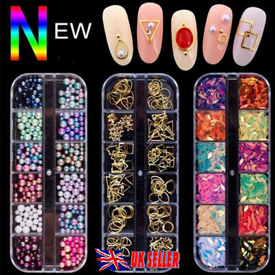 Nail Art Rhinestones Crystals Gems Beads Charms Pearl Glitter 3D Sequins Foil UK • 3.95£