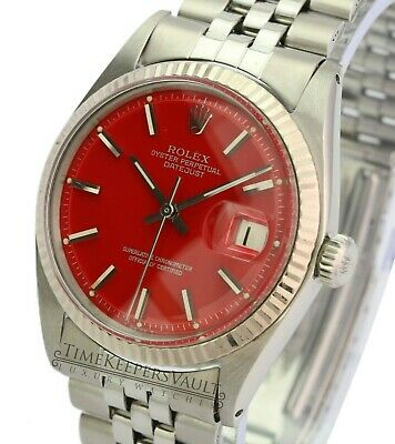 $ CDN6639.48 • Buy Rolex Datejust Mens 1601 Stainless Steel Red Dial Fluted Bezel  36mm Watch