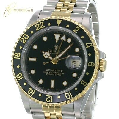 $ CDN13144.45 • Buy Rolex Mens GMT-Master II 16713 Gold And Steel Black Dial Jubilee Band 40mm Watch