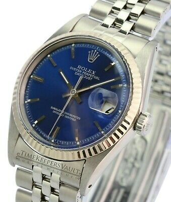 $ CDN6639.48 • Buy Rolex Datejust Mens 1601 Stainless Steel Blue Dial Fluted Bezel  36mm Watch