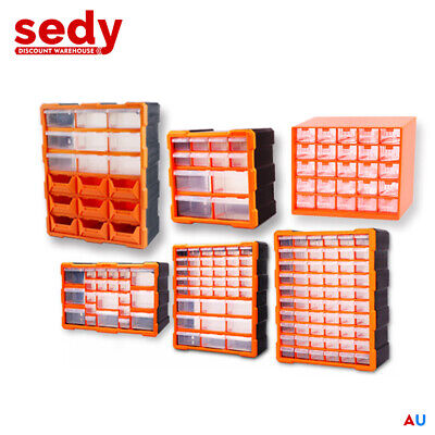AU43.99 • Buy Storage Bin Part Organiser Drawers Cabinet Tool Box Chest Plastic With Dividers