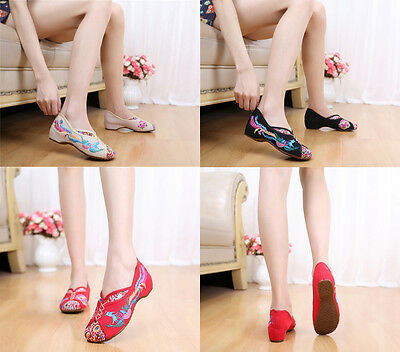 Women Chinese National Embroidered Floral Shoes Ballerina Flat Ballet Loafer • 11.96£
