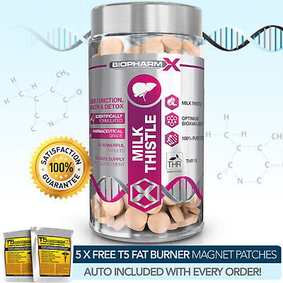 Milk Thistle Liver Support Detox Strongest Possible 80% Silymarin 3000mg Tablets • 8.09£