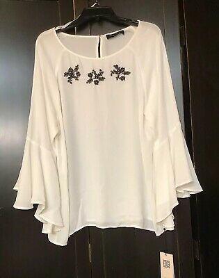 $ CDN30.23 • Buy Ivanka Trump Women's Size XL Ivory Blouse Beads & Pearl Floral Top NWT