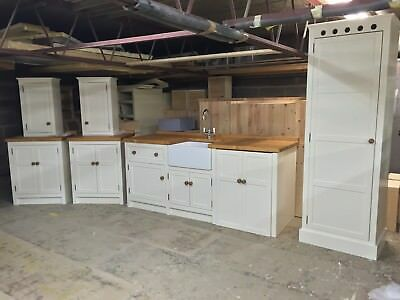 £3878 • Buy Solid Pine Freestanding Handmade Kitchen Base And Wall Units , Pantry Cupboard.
