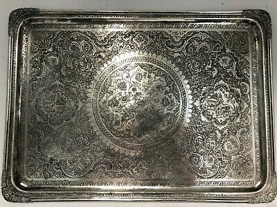 $ CDN2537.39 • Buy Magnificent Large Antique Solid Silver 84 Tray Islamic Qajar Persian C 1900
