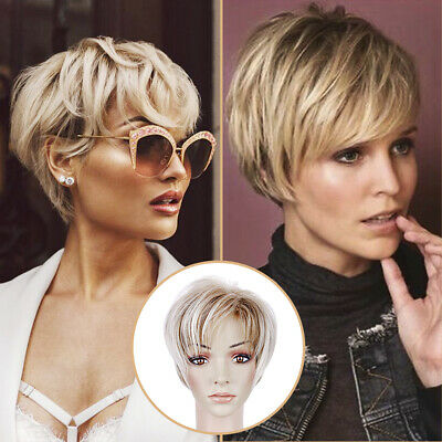 $19.99 • Buy Woman Short Ombre Blonde Synthetic Wig Pixie Cut Straight Hair For Cosplay Party