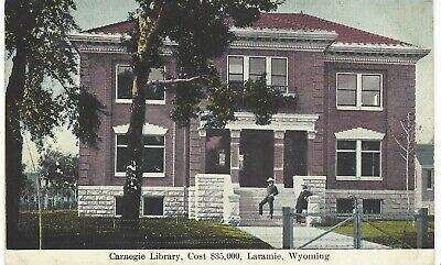 $2.92 • Buy Laramie WY~Carnegie Public Library,Cowboys On Steps. Gates, Cost Of Library,1910