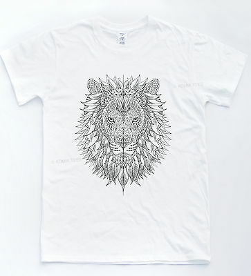 £11.95 • Buy Lion Henna Tattoo T-shirt Sketch Hipster Indie Print Top Retro Tiger Skate Tee