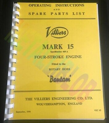 Villiers Mk.15 H.S. - Rotary Hoes Bantam - Engine Instruction Spare Parts Book • 6£