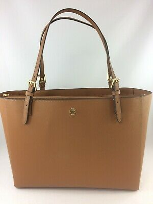 $209.97 • Buy New Authentic Tory Burch 49127 Emerson  Small Buckle Tote Purse Handbag Brown