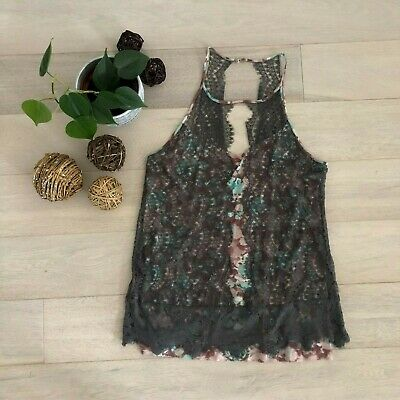 $ CDN29 • Buy Anthropologie Lace Layered Halter Top Blouse Size Large Cedar Brown Sleeveless