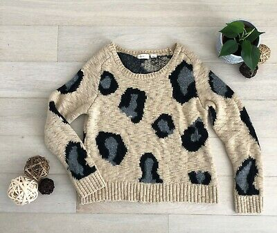 $ CDN49 • Buy Anthropologie Animal Print Wool Sweater Top Large Cream Grey Made In Italy