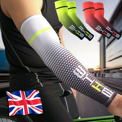 1 Pair Cycling Bike Bicycle Arm Warmers Silk Sleeve Cover UV Protection Sport UK • 7.19£