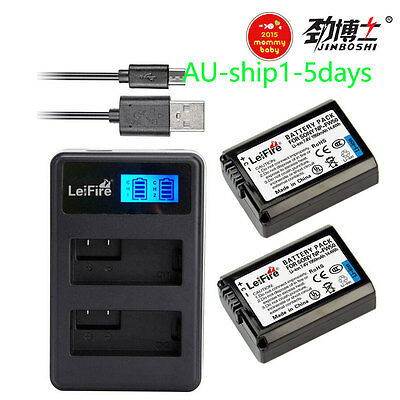 AU25.60 • Buy 2X NP-FW50 Battery +LCD2 USB Charger For Sony Alpha A6500 A6300 A6000 A5000 AU