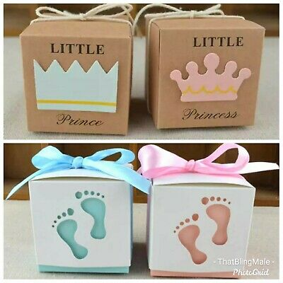 10X Baby Shower Christening Favour Box Boxes Card Natural String Cute Girl Boy  • 5.25£