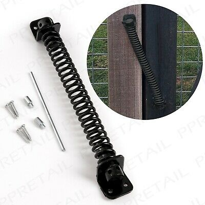 10  GATE SPRING CLOSER Black Weatherproof Hinge Equestrian Stable Door Hinge • 5.01£
