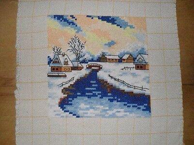 Snow River Cross Stitch Completed Finished NOT Framed • 6.99£