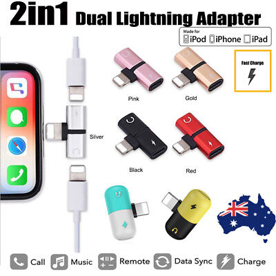AU4.70 • Buy 2 Lightning Splitter Charging Charge & Headphone Adapter For Iphone X XR Max 11
