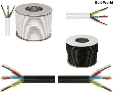 3183Y 13 AMP ELECTRICAL CABLE WHITE BLACK ROUND MAINS WIRE FLEX 1.5mm 3 CORE  • 1.52£