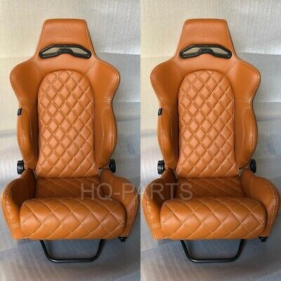 $319.99 • Buy 2 X Tanaka Tan Pvc Leather Racing Seats Reclinable + Diamond Stitch Fits Mustang