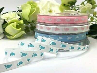 £0.99 • Buy Baby Shower Ribbon Footprints Pink Blue White Nursery Decoration Bow Gift Feet