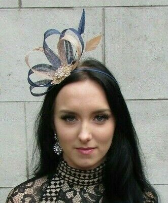 Nude Navy Blue Gold Sinamay Feather Hair Fascinator Races Beige Wedding 7468 • 23.95£