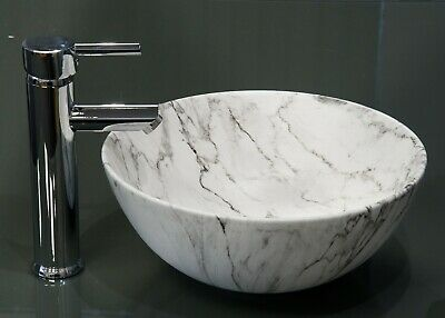 Marble Round Sink Basin Ceramic Marble Effect Stylish Surface Mounted Modern  • 74.99£
