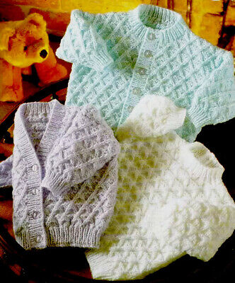 """£2.79 • Buy Vintage Baby Cardigans Knitting Pattern In DK  Birth- 2 Years """" E6"""