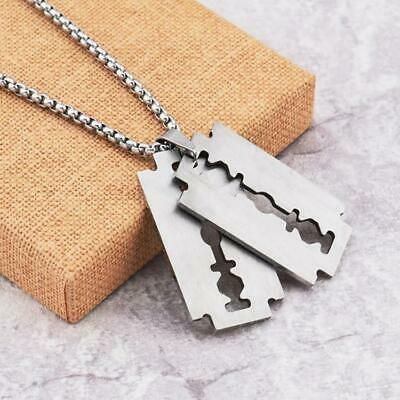 Men's Stainless Steel Silver Razor Blade Pendant Necklace 42x24mm • 7.99£