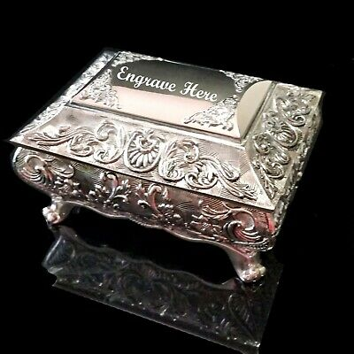 AU39.95 • Buy FABULOUS Antique/Vintage Style Embossed  Silver Plated Ladies Jewellery Box Gift