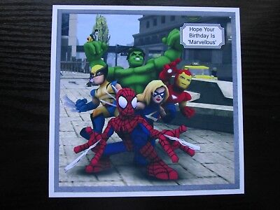 NEW--- 2 X Marvel Avengers Super Heros  Birthday Card Toppers (NEW SIZE) • 1.25£