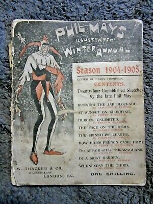 1904-5 Antique Book Phil Mays Illustrated Winter Annual Cartoons Fc62 • 7.19£