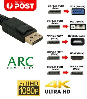 AU7 • Buy Display Port To HDMI DVI VGA DisplayPort Cable Adapter Male Female Full HD 4K