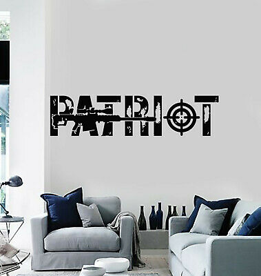 $19.99 • Buy Vinyl Wall Decal Lettering Patriot Military Automatic Weapons Stickers (g1542)