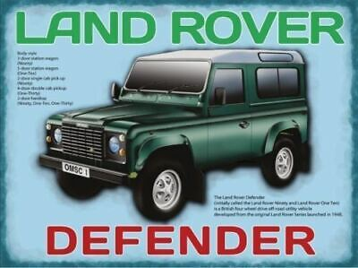 Land Rover Defender. Classic British Green 4x4-Pare Metal/Steel Wall Sign • 8.78£