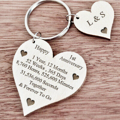 1st 2nd 5th 10th 20th 25th 50th Wedding Anniversary Wooden Heart Mr & Mrs Gifts • 5.99£