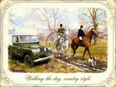 Walking The Dog Country Style, Horses Land Rover -P Metal/Steel Wall Sign • 5.18£