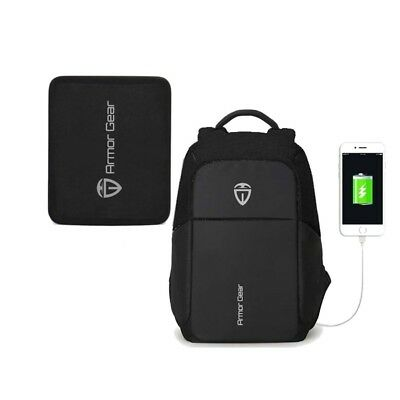 Armor Gear Bulletproof And Anti Theft Backpack With USB Port Black • 89.99$