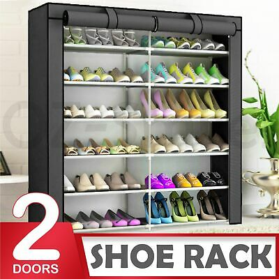 AU19.95 • Buy 2 Doors Shoes Cabinet Storage Shoe Rack With Cover Portable Wardrobe 36 Pairs