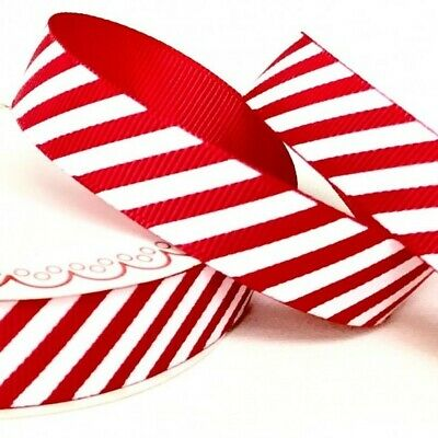 £1.60 • Buy Berties Bows - Red Candy Stripe Ribbon 25mm Wide