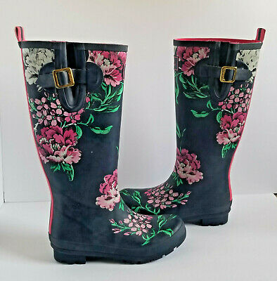 Joules Welly Print Tall Rain Boots 7 38 Dk Blue Pink White Green Floral Rubber • 22.91$